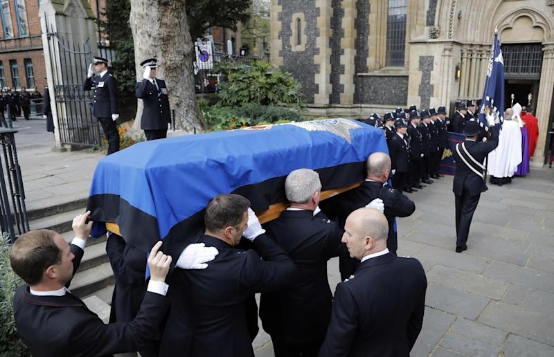 The funeral procession arrives at Southwark Cathedral (Frank Augstein/AP)