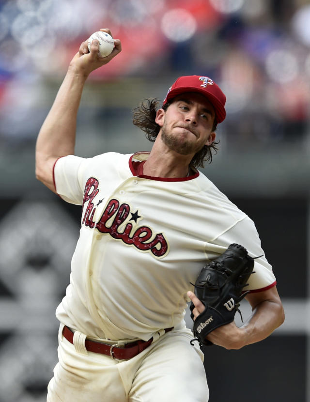 Philadelphia Phillies starting pitcher Aaron Nola throws during the third inning of the team's baseball game against the Baltimore Orioles, Wednesday, July 4, 2018, in Philadelphia. (AP Photo/Derik Hamilton)