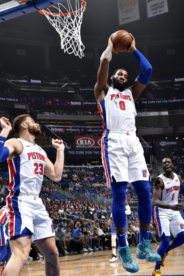 ORLANDO, FL - NOVEMBER 7: Andre Drummond #0 of the Detroit Pistons handles the ball against the Orlando Magic on November 7, 2018 at Amway Center in Orlando, Florida. (Photo by Fernando Medina/NBAE via Getty Images)