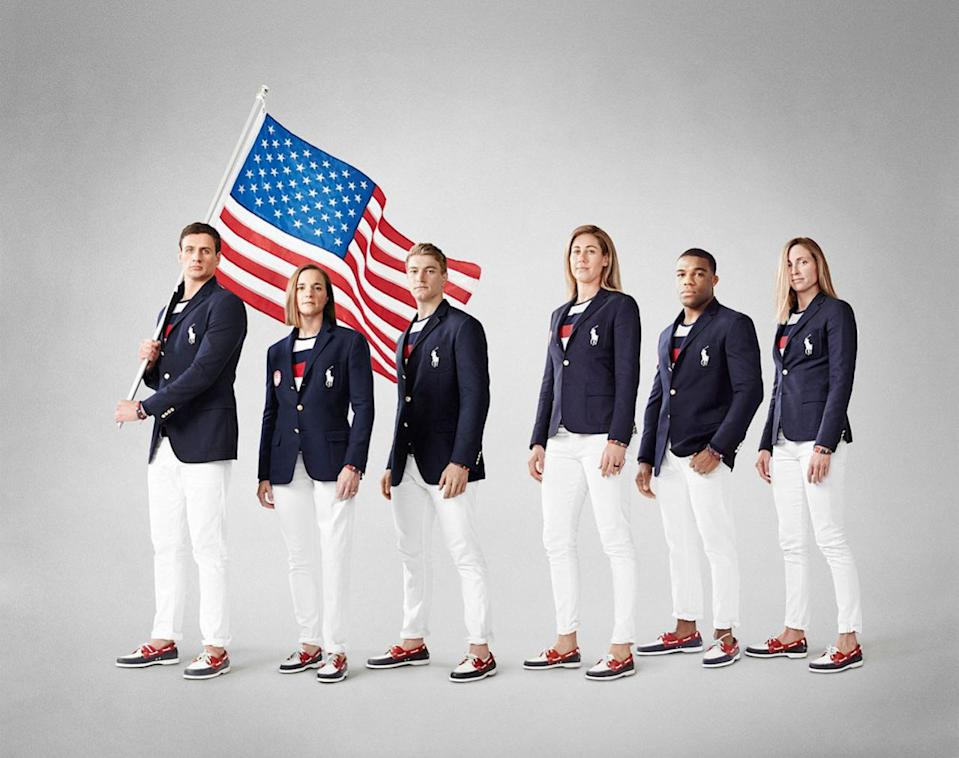 <p>The U.S. team is going with a nautical look: a navy three-button blazer, worn with white salvage denim pants, a red, white and blue striped T-shirt, and boat shoes. <i>(Photo: Courtesy of Ralph Lauren)</i></p>