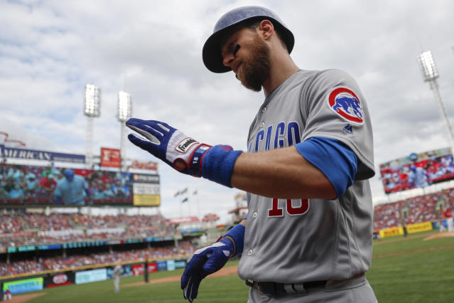 "<a class=""link rapid-noclick-resp"" href=""/mlb/players/7829/"" data-ylk=""slk:Ben Zobrist"">Ben Zobrist</a> earned his first career ejection Tuesday afternoon. (AP Photo)"