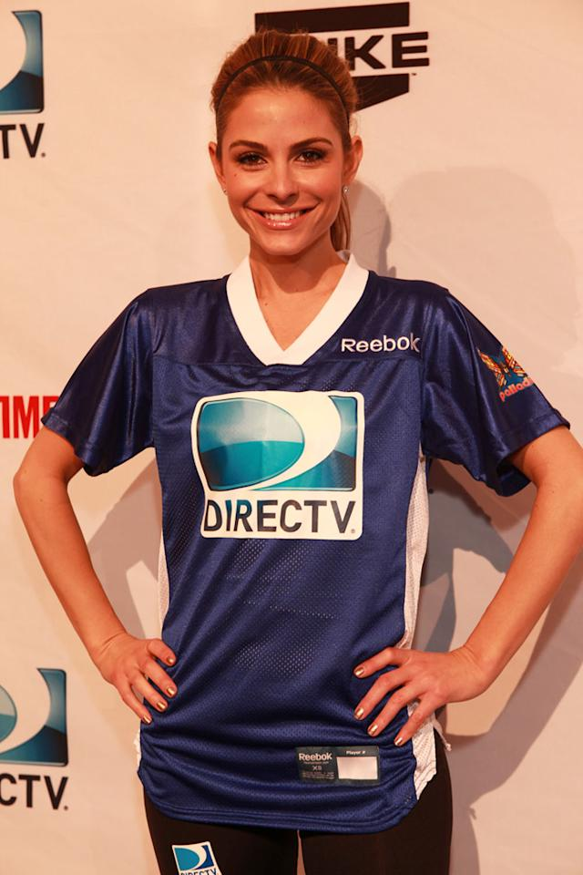 Maria Menounos arrives at the DirecTV Celebrity Beach Bowl in Indianapolis.