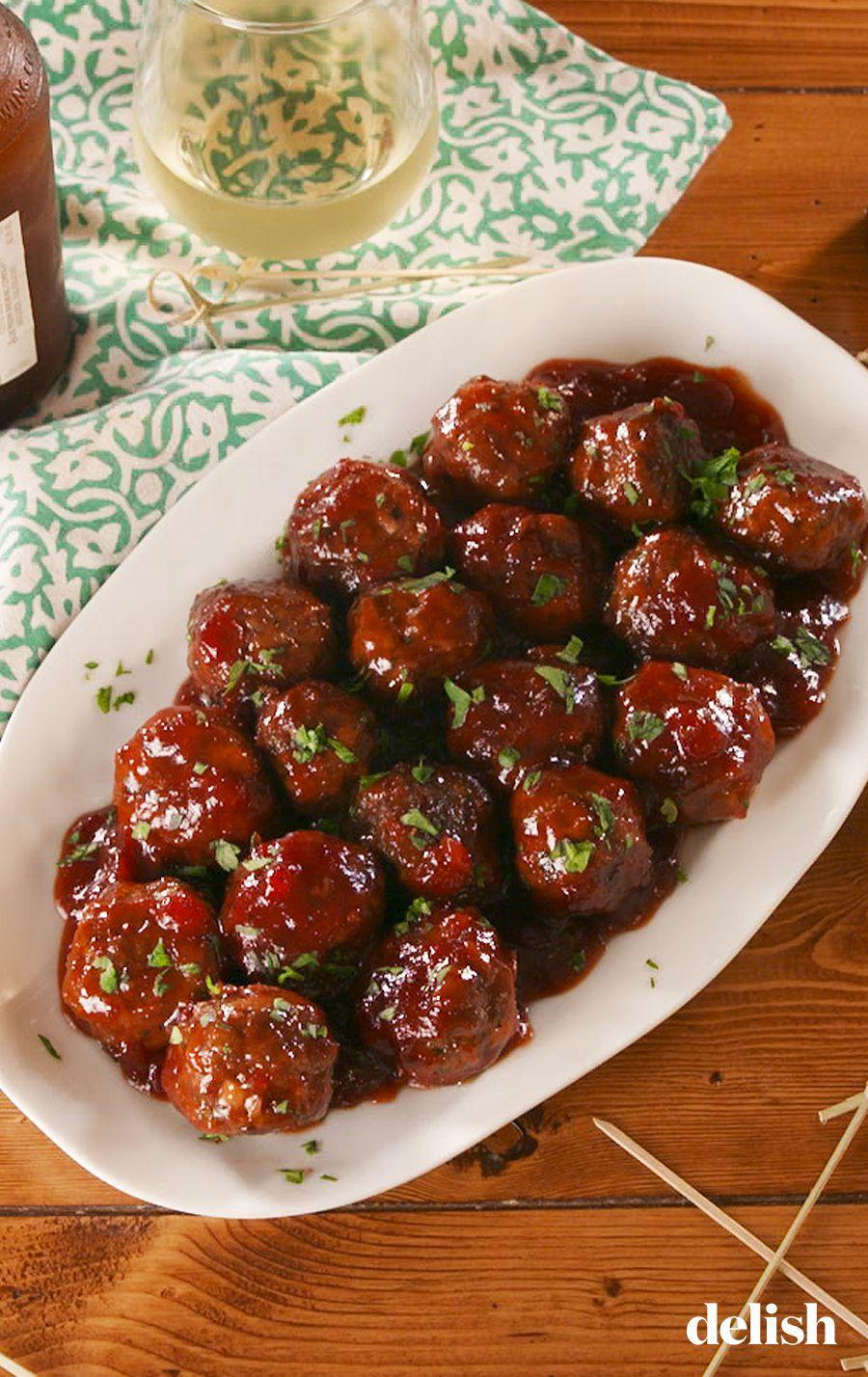 """<p>These are ALWAYS a crowd pleaser.</p><p>Get the recipe from <a href=""""https://www.delish.com/cooking/recipe-ideas/a23694828/cocktail-meatballs/"""" rel=""""nofollow noopener"""" target=""""_blank"""" data-ylk=""""slk:Delish"""" class=""""link rapid-noclick-resp"""">Delish</a>. </p>"""
