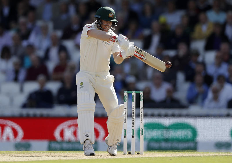 David Warner edges and is caught by Jonny Bairstow as he continues to struggle. (Photo by Ryan Pierse/Getty Images)