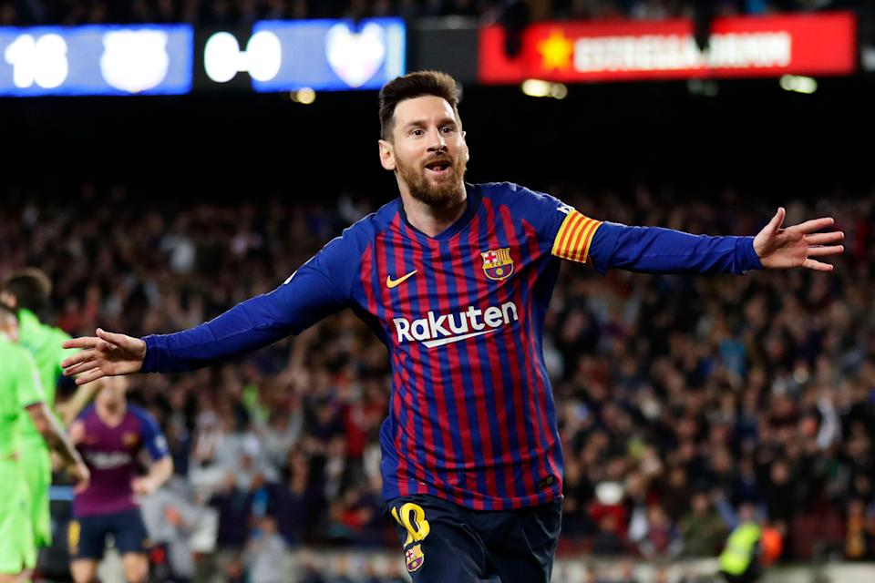 Barcelona forward Lionel Messi celebrates after scoring his side's opening goal during a Spanish La Liga soccer match between FC Barcelona and Levante at the Camp Nou stadium in Barcelona, Spain, Saturday, April 27, 2019. (AP Photo/Manu Fernandez)
