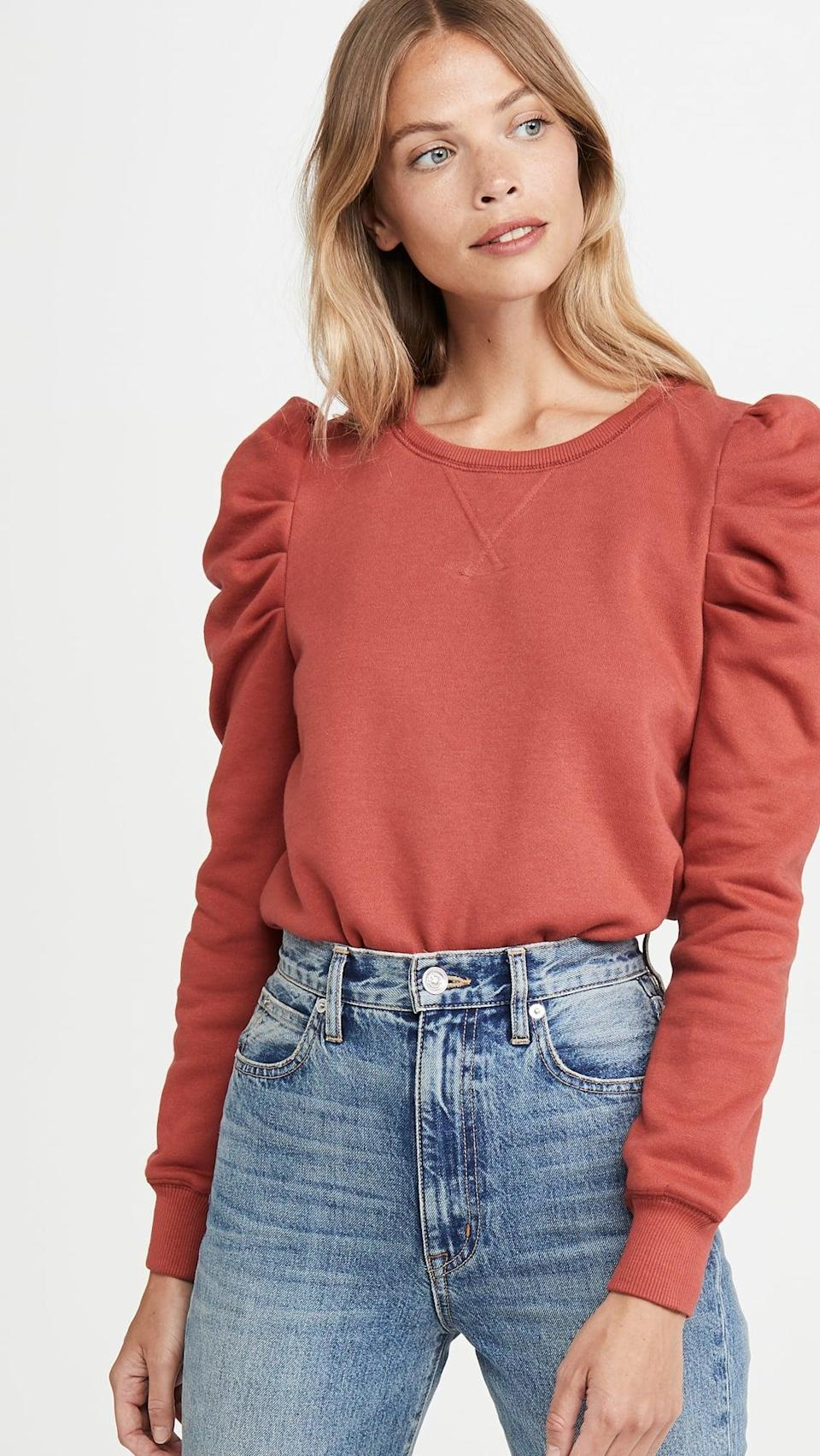 <p>This <span>Rebecca Minkoff Janine Sweatshirt</span> ($88) is elevated and cute. We're obsessed with the statement sleeve.</p>
