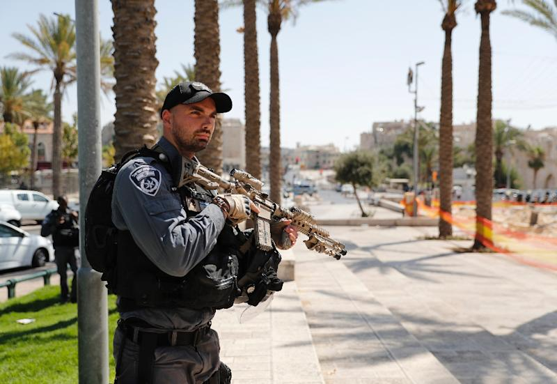 A member of the Israeli security forces stands guard in Jerusalem's Old City on July 14, 2017 following a shooting