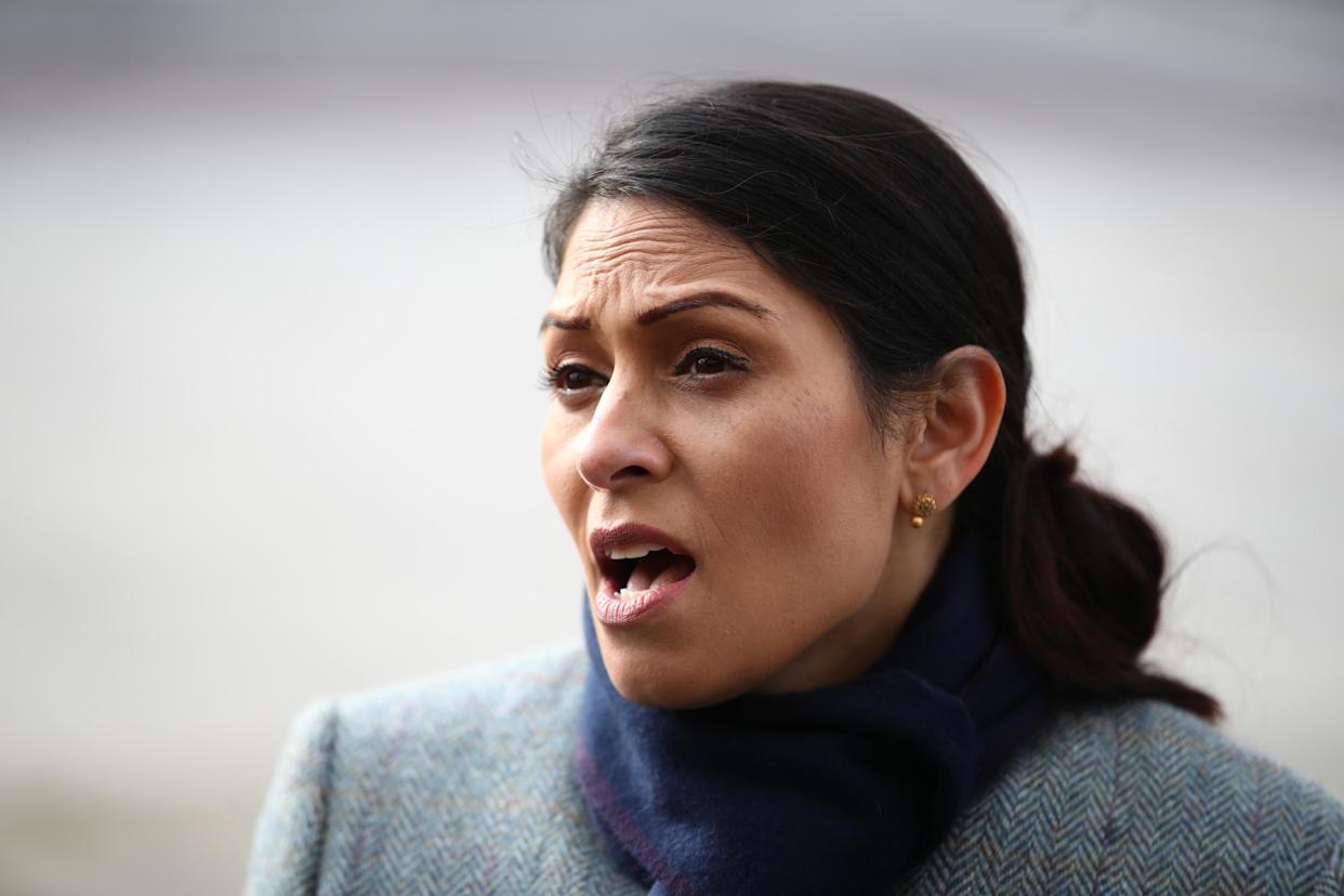 Home Secretary Priti Patel speaks to the media, whilst on patrol with Metropolitan Police officers in central London, to hear about about Covid enforcement. Picture date: Monday January 18, 2021. (Photo by Aaron Chown/PA Images via Getty Images)