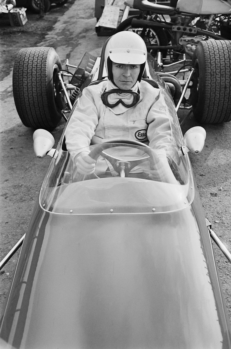 Racing driver Max Mosley tests out a sportscar in 1968.Getty Images