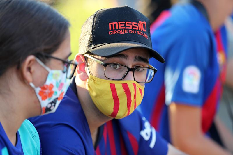 Demonstration in front of the FC Barcelona offices, calling for the resignation of the club's president, Josep Maria Bartomeu, and that Leo Messi does not leave the Barça team, on 26th August 2020.(Photo by Joan Valls/Urbanandsport /NurPhoto via Getty Images)
