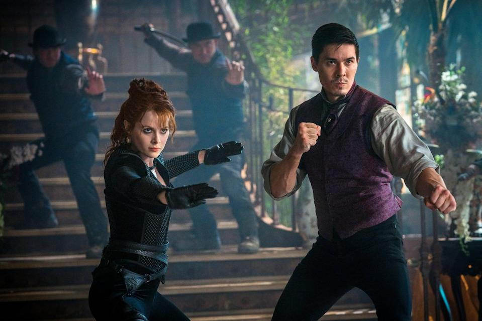 """<p>If the martial-arts aspect of <strong>Cobra Kai</strong> is what has you hooked, <strong>Into the Badlands</strong> is a great bet for your next series binge. With some of the most incredible fight scenes we've seen in a series, it follows warrior Sunny who mentors a teenage boy named M.K. in a civilization called the Badlands. Soon enough, political control of the Badlands takes a turn, and Sunny and M.K. are drawn in. </p> <p> <a href=""""https://www.netflix.com/title/80067617"""" class=""""link rapid-noclick-resp"""" rel=""""nofollow noopener"""" target=""""_blank"""" data-ylk=""""slk:Watch Into the Badlands on Netflix."""">Watch <strong>Into the Badlands</strong> on Netflix.</a></p>"""