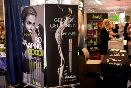 FILE PHOTO: CalyFx vaping display booth is seen at The Cannabis World Congress & Business Exposition (CWCBExpo) trade show in New York