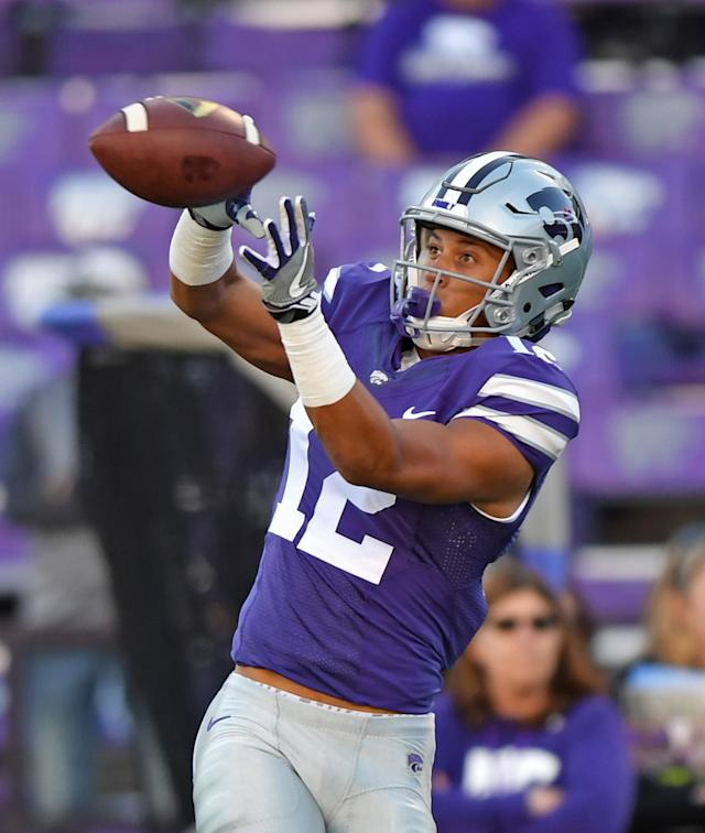 "<a class=""link rapid-noclick-resp"" href=""/ncaaf/players/264519/"" data-ylk=""slk:Corey Sutton"">Corey Sutton</a> caught four passes as a true freshman at Kansas State. (Photo by Peter G. Aiken/Getty Images)"