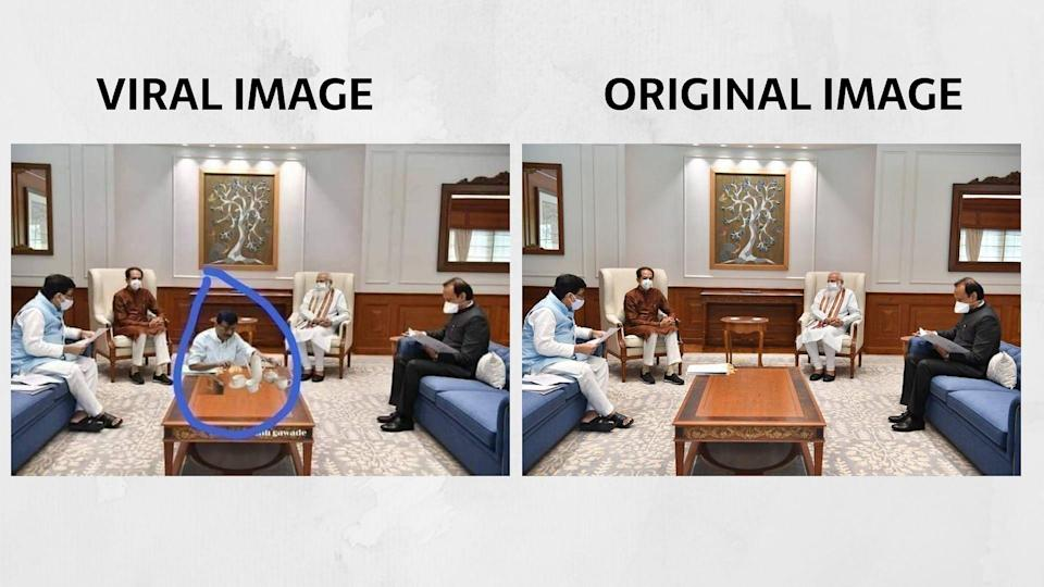 The viral image (L) and the photo posted from the official Twitter handle of Maharashtra CMO (R).
