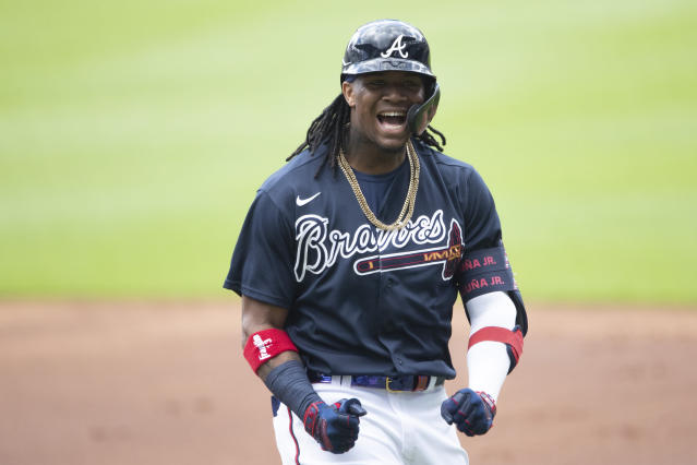 Atlanta Braves center fielder Ronald Acuna Jr. (13) reacts after popping out to second baseman Ozzie Albies during a practice baseball game, Thursday, July 9, 2020, in Atlanta. (AP Photo/John Bazemore)