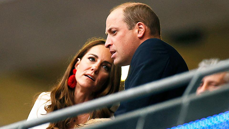 Pictured here, Prince William and his wife Kate watch the Euro 2020 final from their box at Wembley.