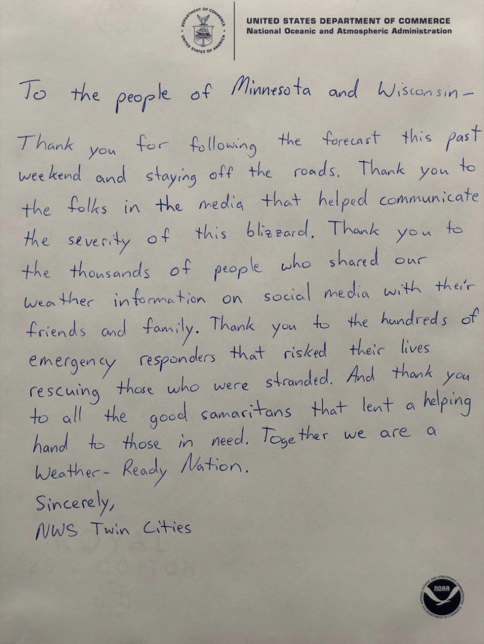 The National Weather Service thanked people in Minnesota and Wisconsin. (Photo: Facebook)