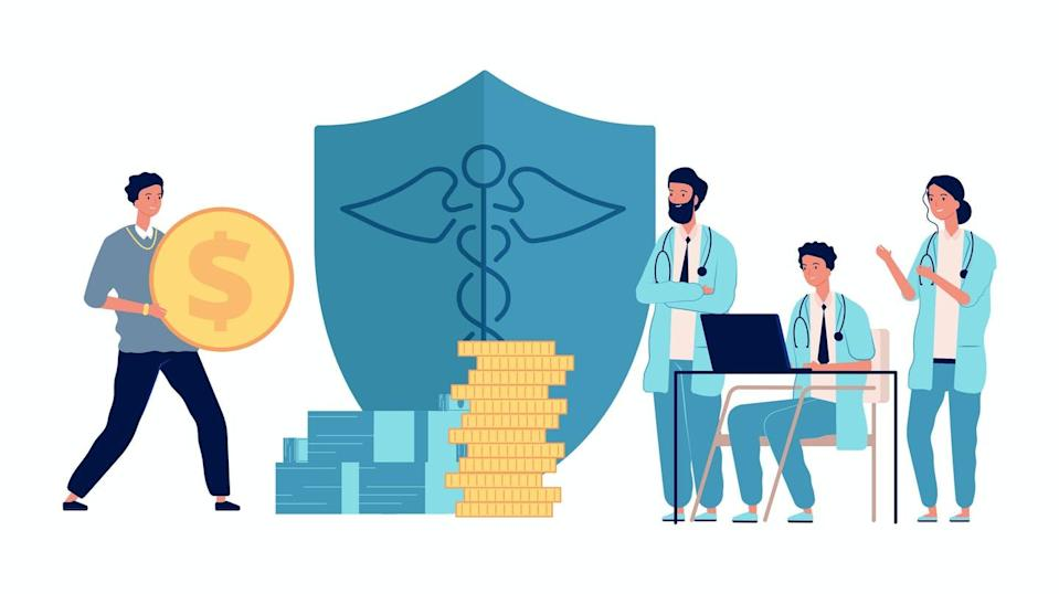 """<span class=""""attribution""""><a class=""""link rapid-noclick-resp"""" href=""""https://www.shutterstock.com/es/image-vector/healthcare-investment-man-holding-money-doctors-1841220793"""" rel=""""nofollow noopener"""" target=""""_blank"""" data-ylk=""""slk:Shutterstock / ONYXprj"""">Shutterstock / ONYXprj</a></span>"""