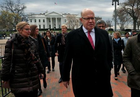 German Economic Minister Peter Altmaier walks after delivering a statement regarding the Trump Administration's steel and aluminum tariffs outside of the White House in Washington
