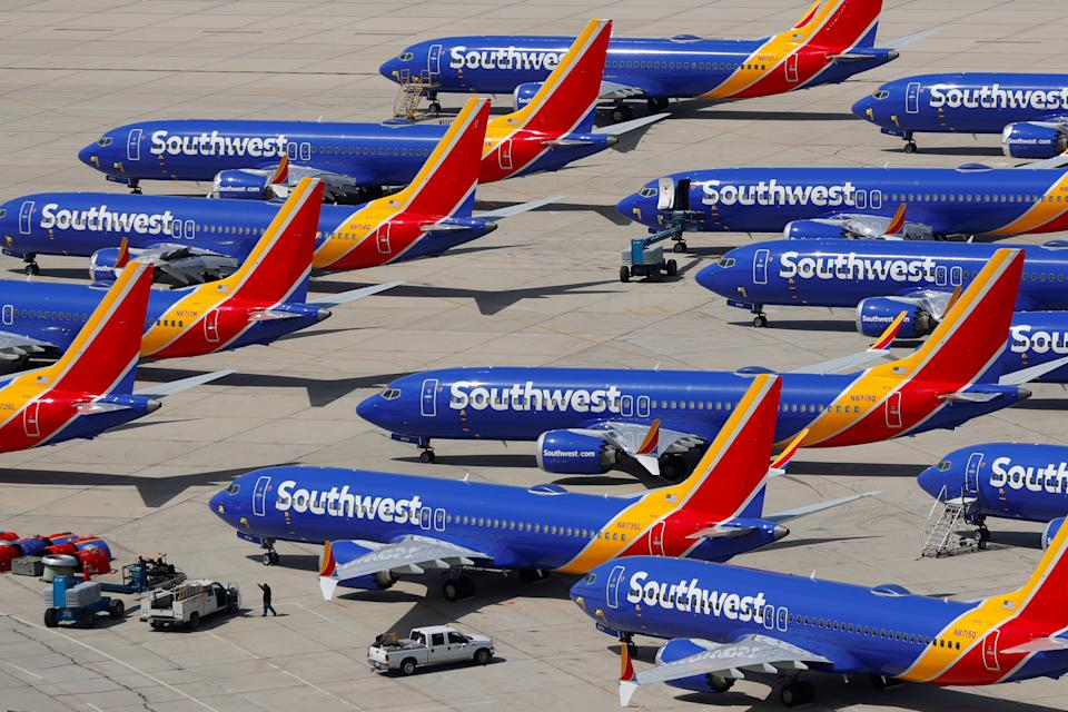 A number of grounded Southwest Airlines Boeing 737 MAX 8 aircraft are shown parked at Victorville Airport in Victorville, California, U.S., March 26, 2019.  REUTERS/Mike Blake