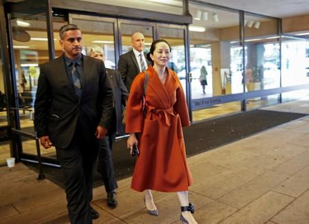 FILE PHOTO: Huawei Technologies Chief Financial Officer Meng Wanzhou leaves for a lunch break during a hearing at British Columbia Supreme Court in Vancouver