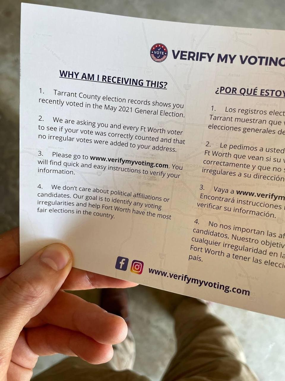 Some Fort Worth residents have received pamphlets asking them to verify their vote on a non-secure website and county officials are advising against it.
