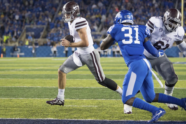 Mississippi State quarterback Nick Fitzgerald (7) rushes for a touchdown during the first half of an NCAA college football game against Kentucky in Lexington, Ky., Saturday, Sept. 22, 2018. (AP Photo/Bryan Woolston)