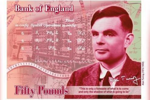 Alan Turing will appear on the new £50 polymer banknote