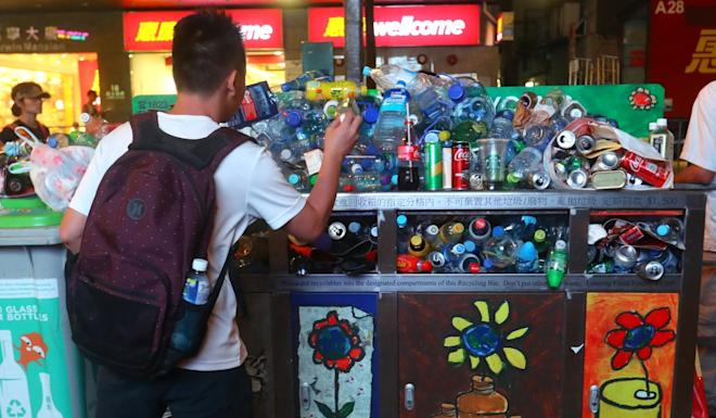 An over-spilling recycling bin in Wan Chai could be a relic of the past with a proposed scheme looking at allowing customers to return plastic bottles via reverse vending machines. Photo: Edmond So