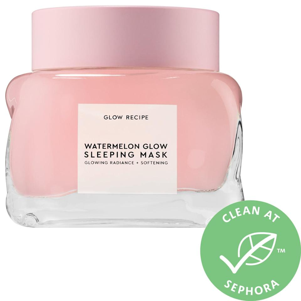 """<p>With more than 1,200 5-star reviews, the <a href=""""https://www.popsugar.com/buy/Glow-Recipe-Watermelon-AHA-Glow-Sleeping-Mask-572839?p_name=Glow%20Recipe%20Watermelon%20%2B%20AHA%20Glow%20Sleeping%20Mask&retailer=sephora.com&pid=572839&price=22&evar1=bella%3Aus&evar9=47461551&evar98=https%3A%2F%2Fwww.popsugar.com%2Fbeauty%2Fphoto-gallery%2F47461551%2Fimage%2F47461574%2FGlow-Recipe-Watermelon-AHA-Glow-Sleeping-Mask&list1=sephora%2Cdry%20skin%2Cacne%2Csensitive%20skin%2Cbeauty%20shopping%2Cskin%20care&prop13=mobile&pdata=1"""" class=""""link rapid-noclick-resp"""" rel=""""nofollow noopener"""" target=""""_blank"""" data-ylk=""""slk:Glow Recipe Watermelon + AHA Glow Sleeping Mask"""">Glow Recipe Watermelon + AHA Glow Sleeping Mask</a> ($22-$45) is popular with many for its overnight work smoothing and hydrating stressed skin with watermelon extract and hyaluronic acid. It also uses lactic and glycolic acids to eliminate dulling, dead surface cells so you can wake up refreshed and radiant.</p>"""