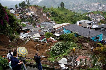 View of a neighborhood destroyed after mudslides, caused by heavy rains leading several rivers to overflow, pushing sediment and rocks into buildings and roads, in Manizales, Colombia April 19, 2017. REUTERS/Santiago Osorio