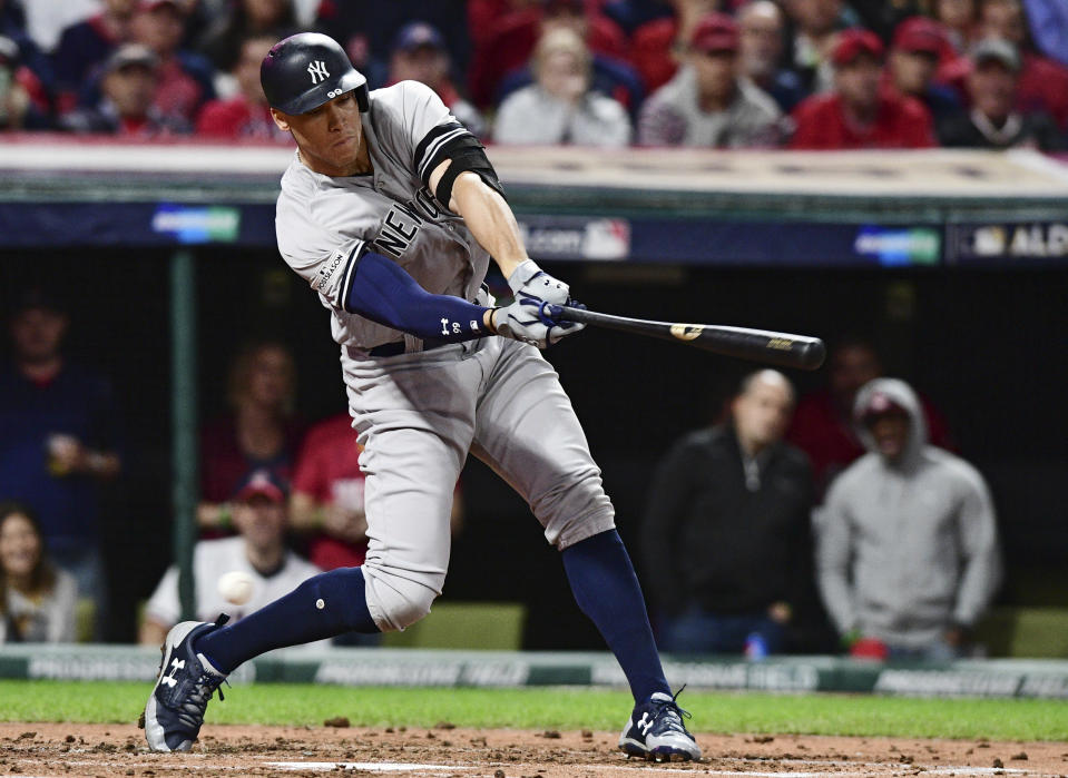 Yankees' slugger Aaron Judge strikes out swinging against Indians starting pitcher Corey Kluber during Game 5 of the ALDS. (AP)