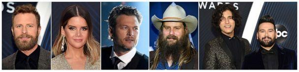 PHOTO: CMA nominees for Single of the Year, from left, 'Burning Man'€ by Dierks Bentley featuring Brothers Osborne, 'GIRL' by Maren Morris; 'God's Country' by Blake Shelton; 'Millionaire' by Chris Stapleton; and 'Speechless' by Dan + Shay. (AP)