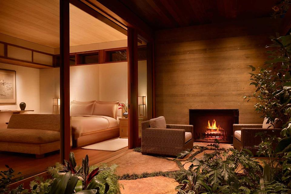 View of guest room at terrace at the Nobu Ryokan Malibu, voted one of the best hotels in the world