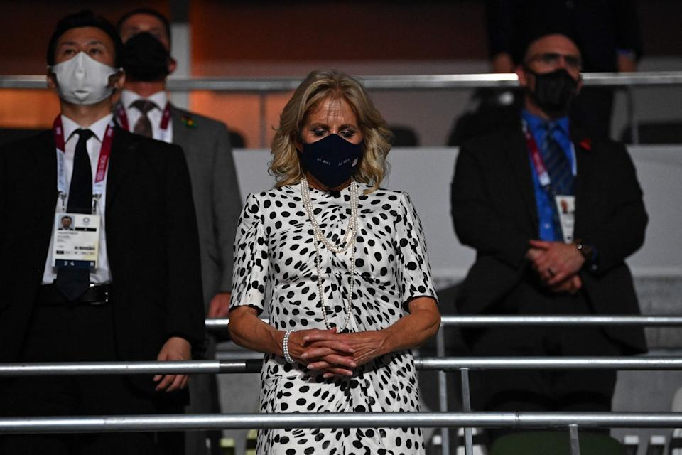 First Lady Jill Biden observes a moment of silence during the opening ceremony of the Tokyo 2020 Olympic Games, at the Olympic Stadium in Tokyo, on July 23, 2021.