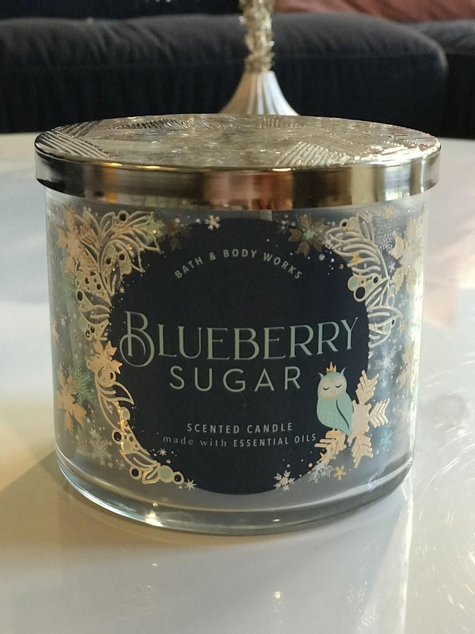 <p><span>Blueberry Sugar 3-Wick Candle</span> ($15, originally $25)</p> <p><strong>What It Smells Like:</strong> A sweet and sugary blueberry pie.</p>