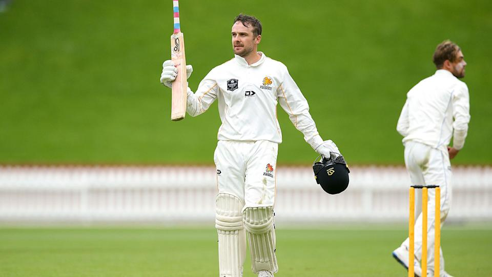 Seen here, Tom Blundell salutes after making a century in the Plunkett Shield.