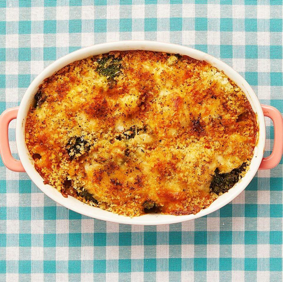 """<p>Serve up your greens in a deliciously cheesy new way. Your kids will be asking for seconds.</p><p><strong><a href=""""https://www.thepioneerwoman.com/food-cooking/recipes/a11888/broccoli-cauliflower-casserole/"""" rel=""""nofollow noopener"""" target=""""_blank"""" data-ylk=""""slk:Get the recipe."""" class=""""link rapid-noclick-resp"""">Get the recipe.</a></strong></p>"""