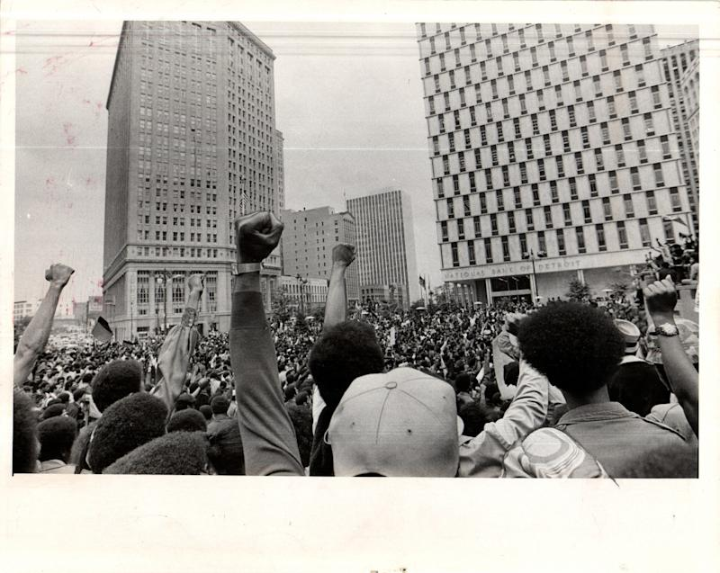 About 4,000 mostly black demonstrators gathered in downtown Detroit on Sept. 23, 1971, to protest the Detroit Police Department