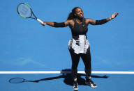 Serena Williams reacts during her quarter-final match against Britain's Johanna Konta. REUTERS/Jason Reed