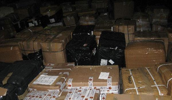 Seized boxes at Standard Airport.