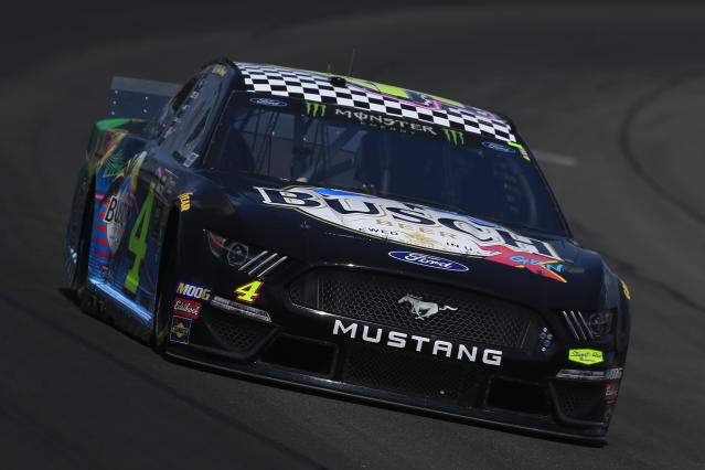 Kevin Harvick's car is a Gen-X-themed scheme this weekend after Busch ran a millennial-themed scheme at the All-Star Race in May. (Chris Trotman/Getty Images)