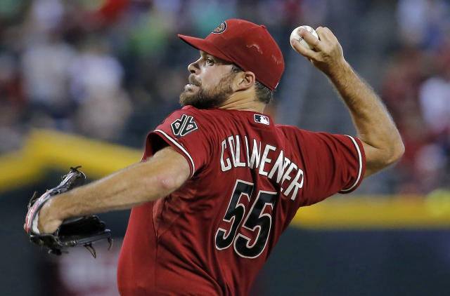 Arizona Diamondbacks pitcher Josh Collmenter throws against the Miami Marlins during the first inning of a baseball game, Wednesday, July 9, 2014, in Phoenix. (AP Photo/Matt York)