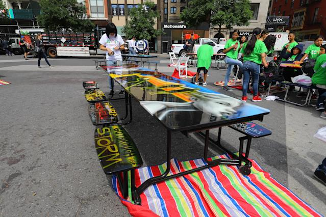 <p>Students from I.S. 117 Joseph H. Wade in the Bronx created this artwork on the social issue of mental health in Union Square Park, New York City on June 5, 2018. (Photo: Gordon Donovan/Yahoo News) </p>