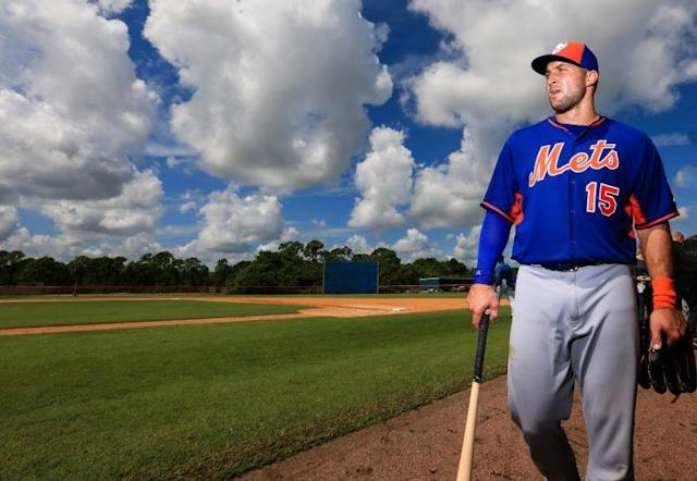 Tim Tebow's first AFL game proved to be pretty eventful. (Getty Images/Rob Foldy)