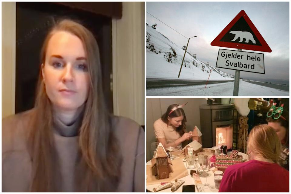 Cecilia Blomdahl said people in Svalbard have been able to 'live relatively normally' with it being one of the few places in the world without a COVID case. (Zoom/Reuters/TikTok: @sejsejlija)