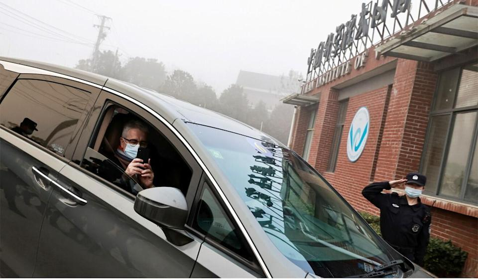 WHO team member Dominic Dwyer arrives at the Wuhan Institute of Virology on February 3. Photo: Reuters
