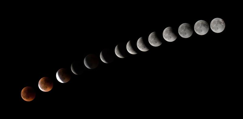 This combination of 14 pictures shows the moon during a total lunar eclipse near to La Puente town on the Spanish Canary Island of Tenerife. (DESIREE MARTIN via Getty Images)