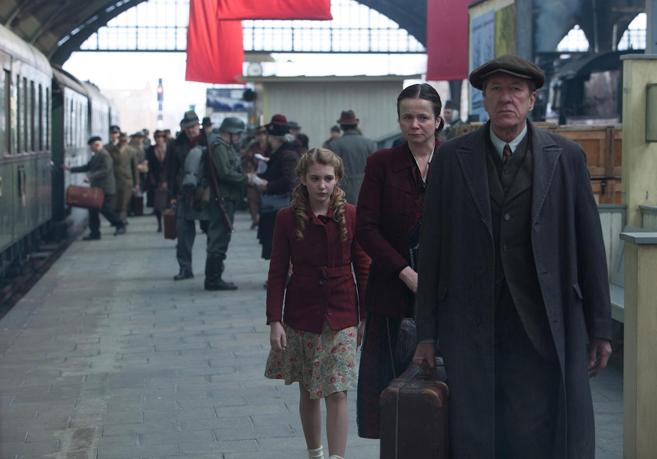 """Sophie Nélisse, Emily Watson and Geoffrey Rush in 20th Century Fox's """"The Book Thief"""" - 2013"""