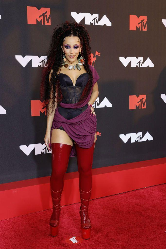 <p>The performance artist wore a corset mini dress by Andreas Kronthaler for Vivienne Westwood.</p>